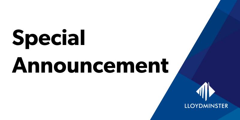 Special Community Announcement