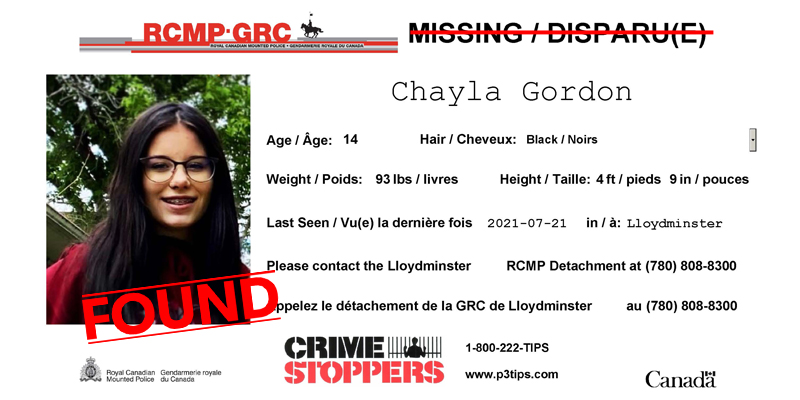 FOUND: Chayla Gordon