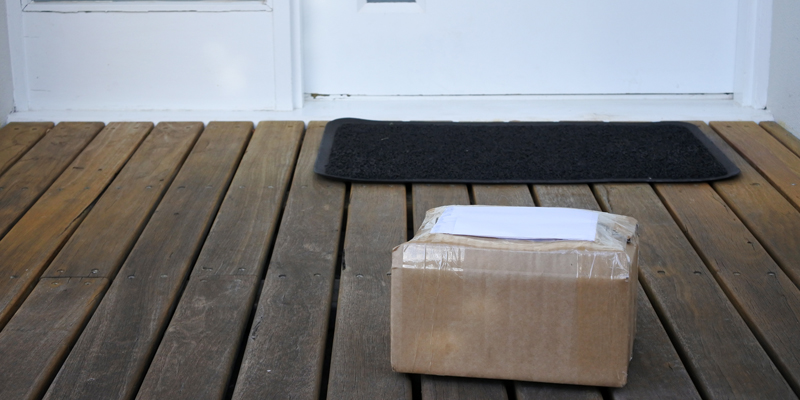 Mailed package on doorstep